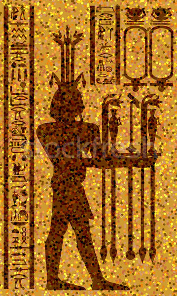egyptian hieroglyphs and fresco Stock photo © angelp