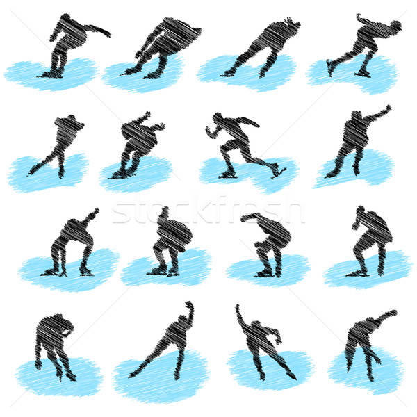 Set of ice-skating athlete grunge silhouettes Stock photo © angelp