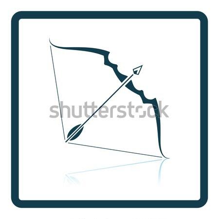 Yay ok ikon gri ahşap spor Stok fotoğraf © angelp