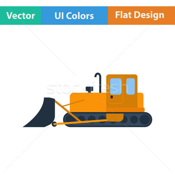 Flat design icon of Construction bulldozer Stock photo © angelp