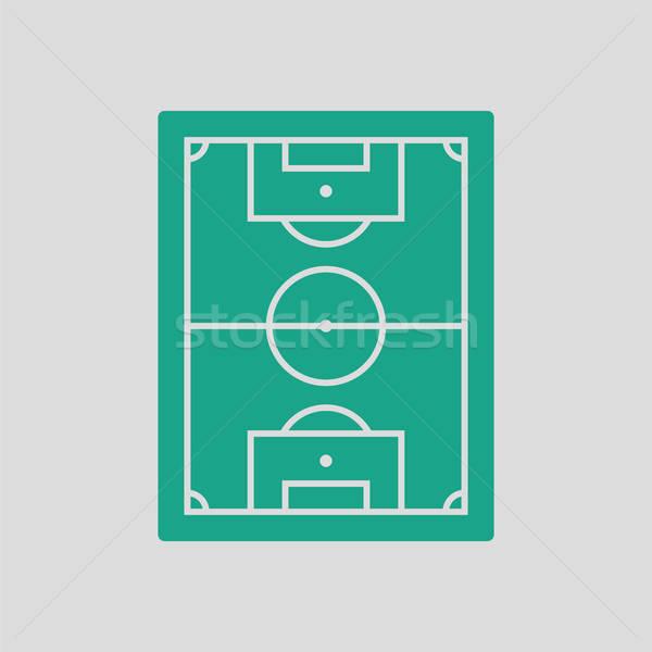 Ikon légifelvétel futballpálya szürke zöld futball Stock fotó © angelp