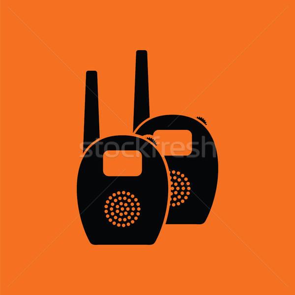 Baba rádió monitor narancs fekete otthon Stock fotó © angelp