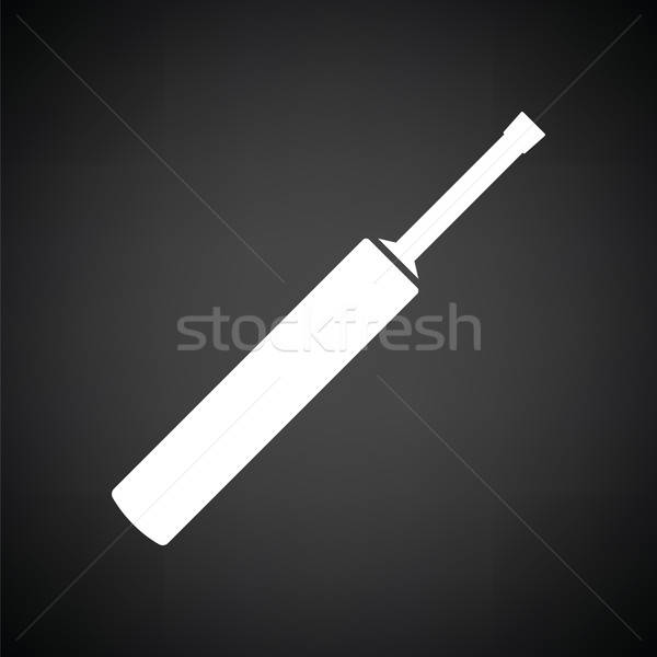 Cricket bat icon zwart wit bal zwarte Stockfoto © angelp