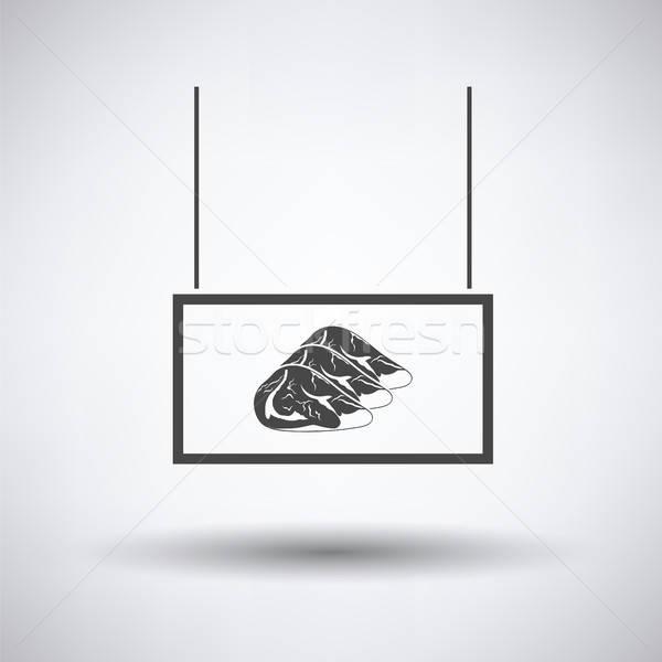 Vlees markt afdeling icon grijs teken Stockfoto © angelp