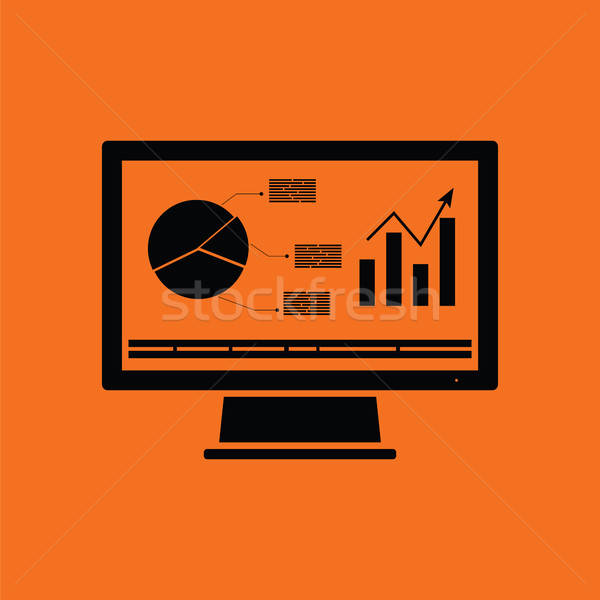 Monitor with analytics diagram icon Stock photo © angelp