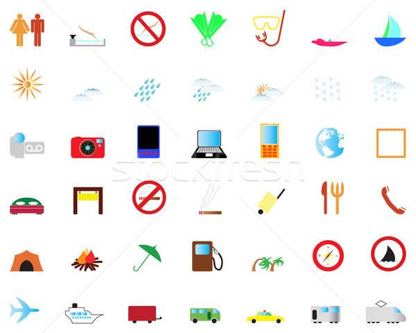 Reizen collectie verschillend iconen web design Stockfoto © angelp