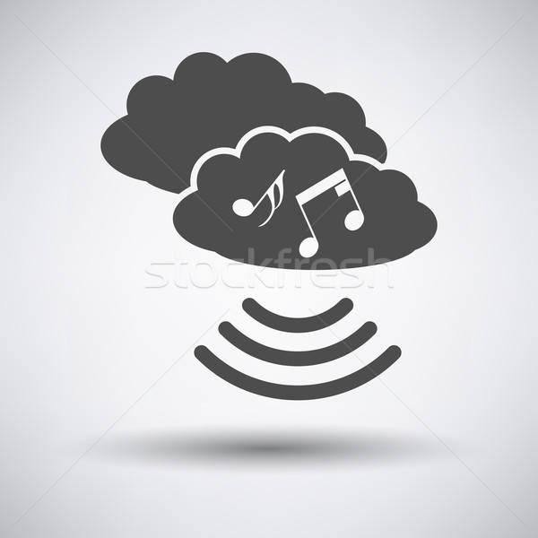 Muzyki chmura icon szary niebo sieci Chmura Zdjęcia stock © angelp