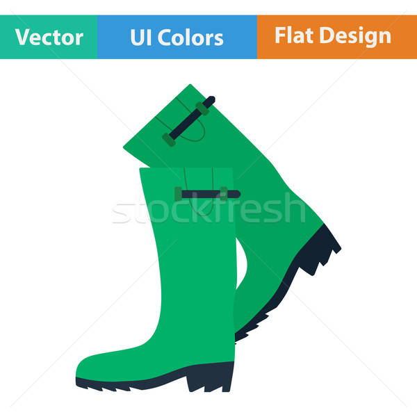 Flat design icon of hunter's rubber boots Stock photo © angelp