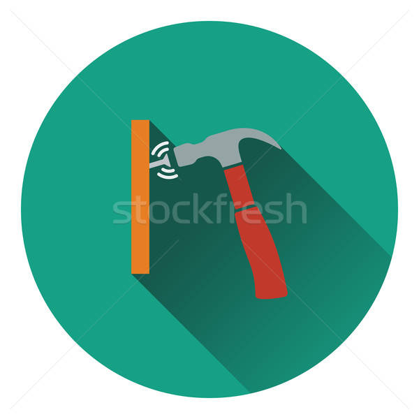 Ikon kalapács ütem szög fa munka Stock fotó © angelp