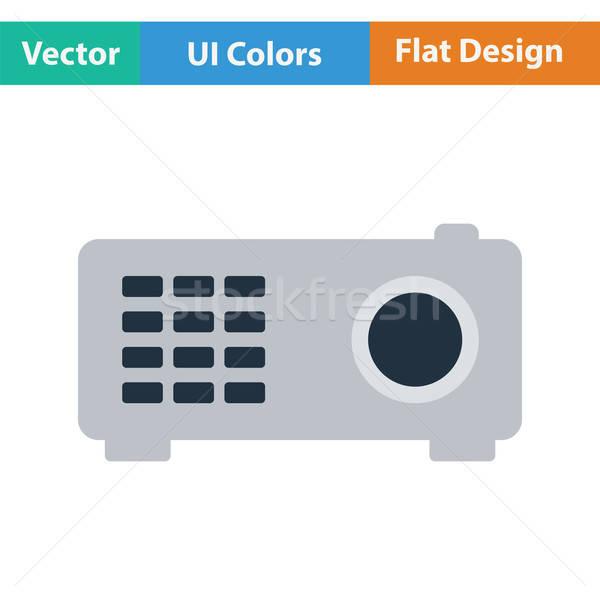 Videó projektor ikon szín terv film Stock fotó © angelp