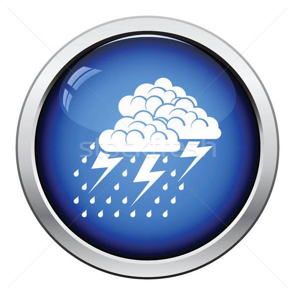 Sağanak ikon parlak düğme dizayn yağmur Stok fotoğraf © angelp