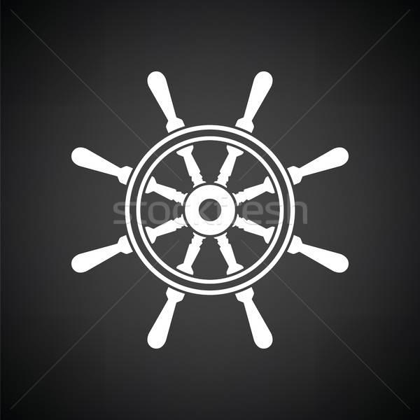 икона руль черно белые аннотация морем знак Сток-фото © angelp
