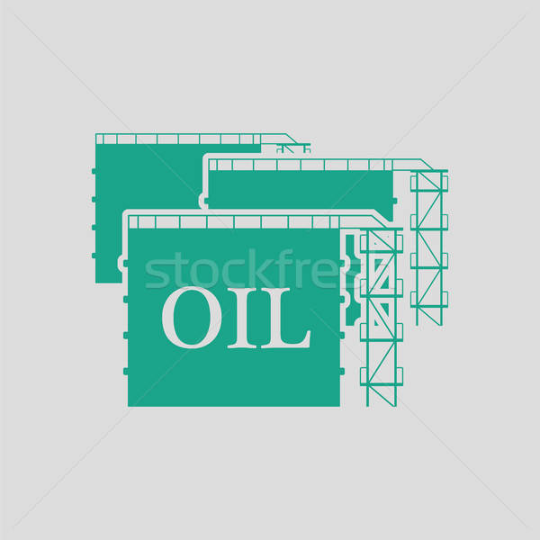 Foto stock: Óleo · tanque · armazenamento · ícone · cinza · verde