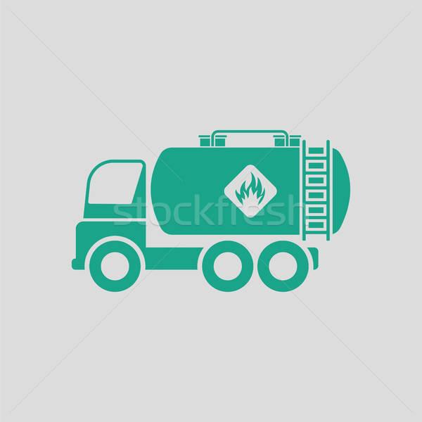 Combustible tanque camión icono gris verde Foto stock © angelp