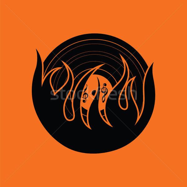 Láng bakelit ikon narancs fekete diszkó Stock fotó © angelp