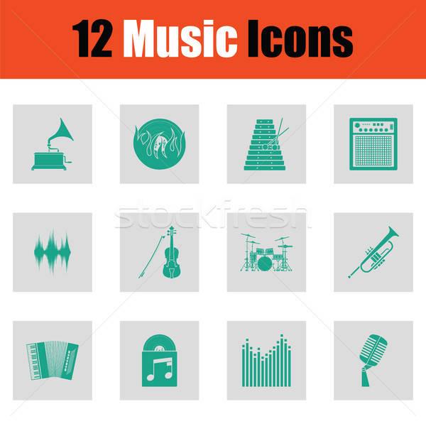 Ingesteld musical iconen groene grijs Stockfoto © angelp