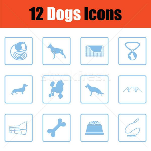 Kutyák ikon gyűjtemény kék keret terv kutya Stock fotó © angelp