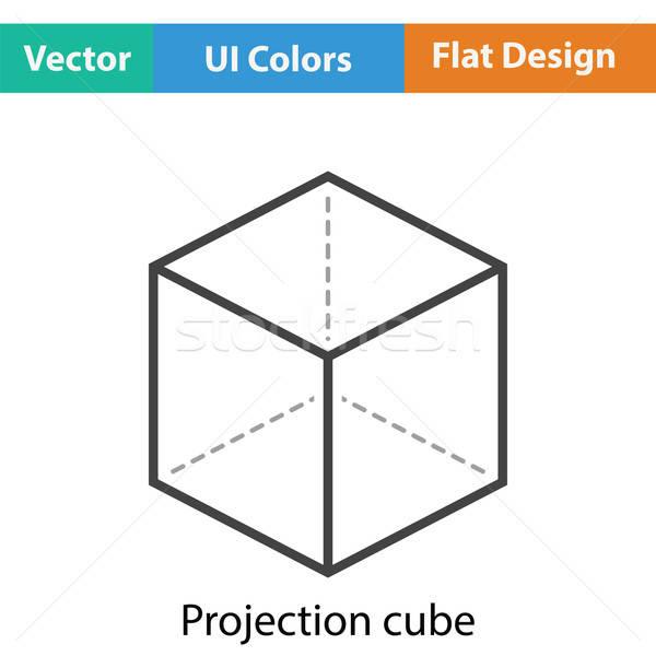 Küp projeksiyon ikon renk dizayn teknoloji Stok fotoğraf © angelp