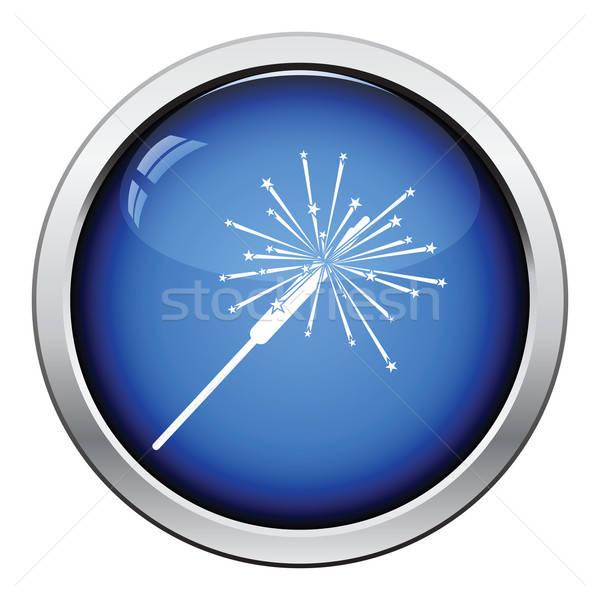 Partij sterretje icon glanzend knop ontwerp Stockfoto © angelp