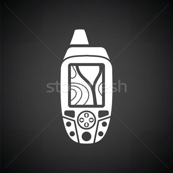 Portable gps Gerät Symbol schwarz weiß Wald Stock foto © angelp