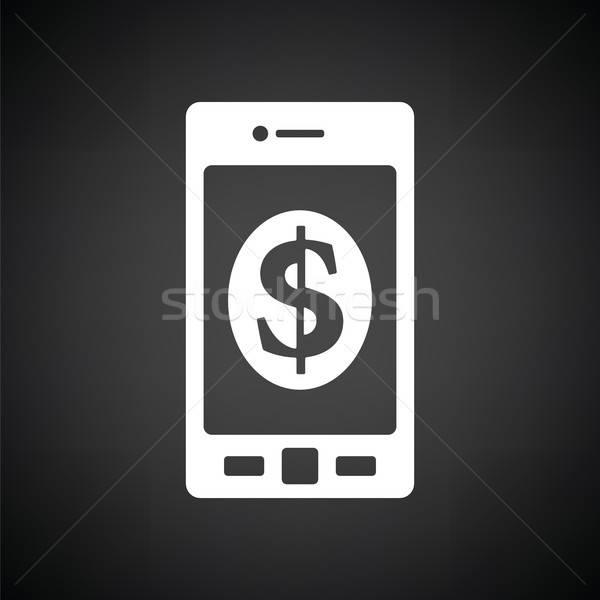 Smartphone Dollarzeichen Symbol schwarz weiß Business Internet Stock foto © angelp