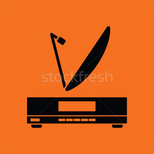 Satellite receiver with antenna icon Stock photo © angelp