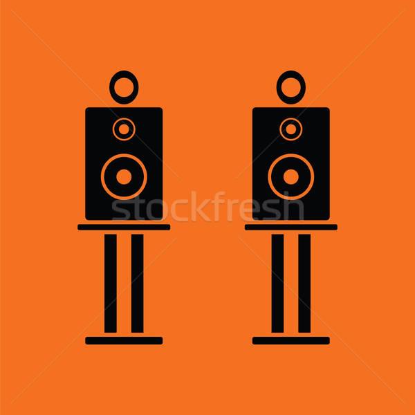 De audio oradores icono naranja negro fiesta Foto stock © angelp