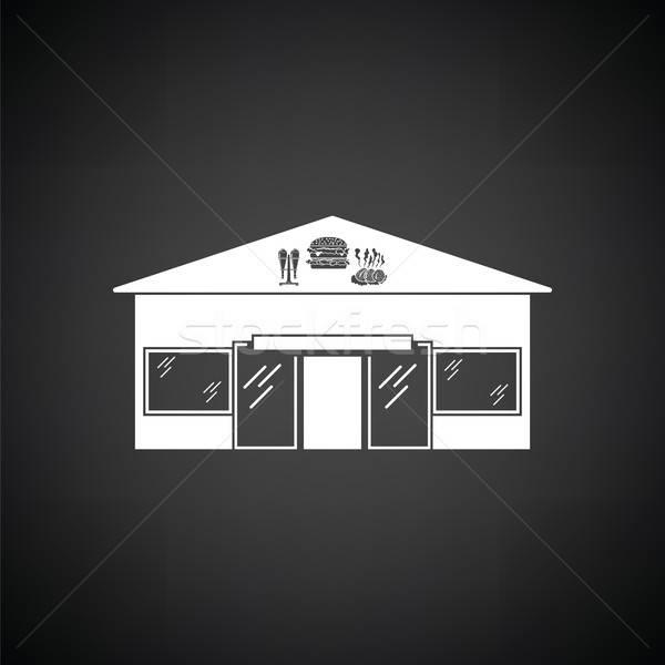 遊園地 アイコン 黒白 建物 レストラン バー ストックフォト © angelp