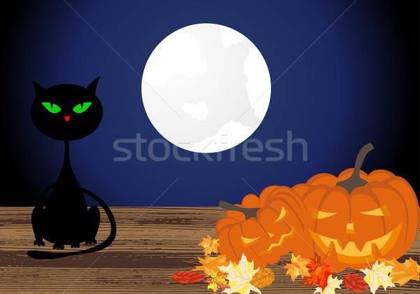 Feliz halloween cartão casa cara laranja Foto stock © angelp