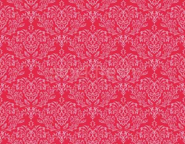 ストックフォト: シームレス · ダマスク織 · 抽象的な · デザイン · 葉 · 波