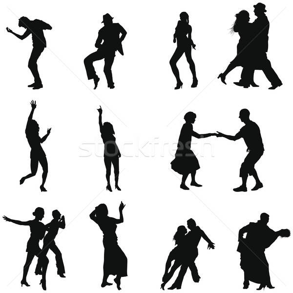 Danse silhouette ensemble différent silhouettes Photo stock © angelp