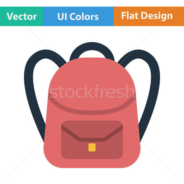 Flat design icon of School rucksack Stock photo © angelp