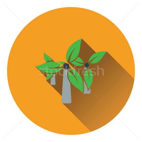 Wiatr młyn pozostawia ikona projektu zielone Zdjęcia stock © angelp