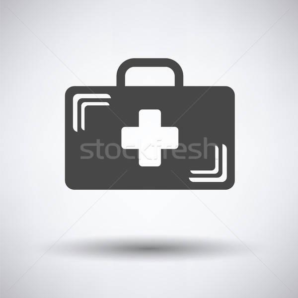 医療 場合 アイコン グレー クロス 背景 ストックフォト © angelp