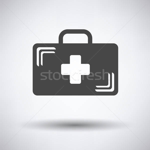Médico caso ícone cinza atravessar fundo Foto stock © angelp