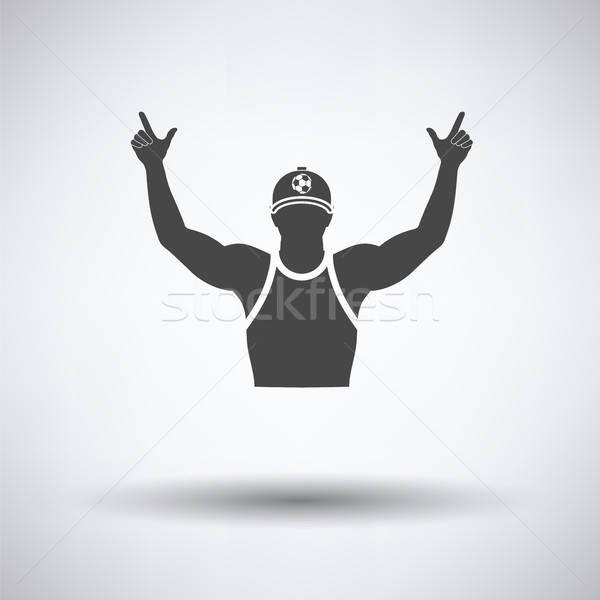 Fútbol ventilador las manos en alto icono gris cara Foto stock © angelp