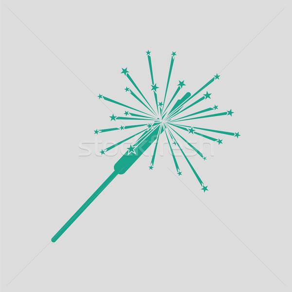 вечеринка бенгальский огонь икона серый зеленый аннотация Сток-фото © angelp