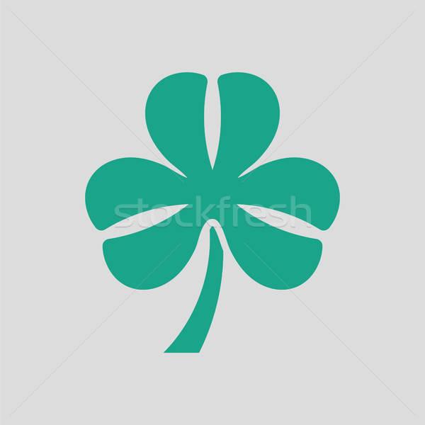 Shamrock ikon szürke zöld virág absztrakt Stock fotó © angelp