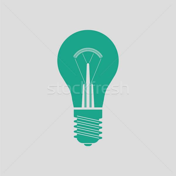Elektrische lamp icon grijs groene technologie Stockfoto © angelp
