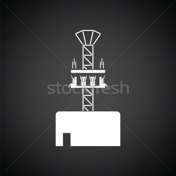 ícone preto e branco homem verão menino preto Foto stock © angelp