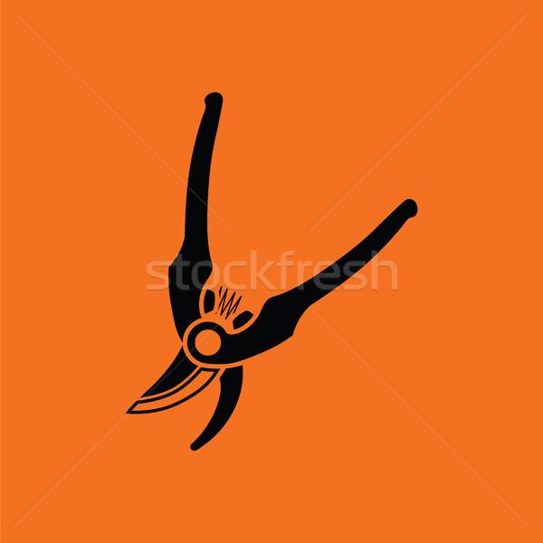Kert olló ikon narancs fekete fa Stock fotó © angelp