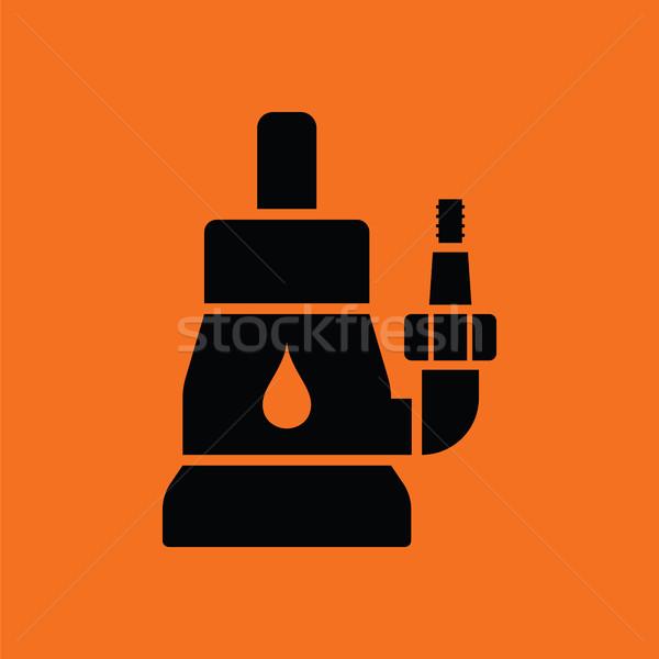 Stok fotoğraf: Su · pompa · ikon · turuncu · siyah · arka · plan