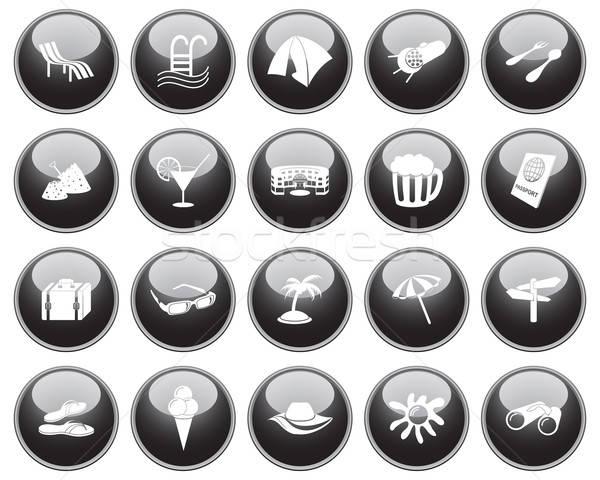 Viajar conjunto diferente vetor os ícones do web Foto stock © angelp