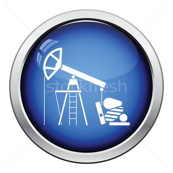 Olaj pumpa ikon fényes gomb terv Stock fotó © angelp