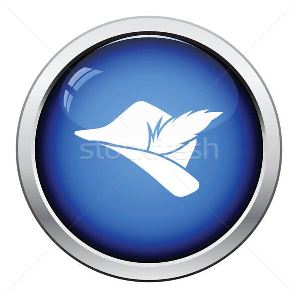 Hunter hat Pióro ikona przycisk Zdjęcia stock © angelp