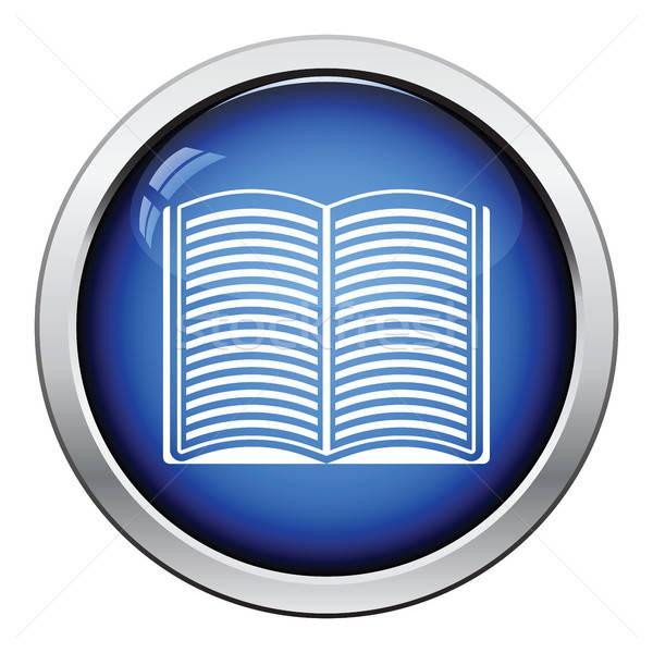 открытой книгой икона кнопки дизайна бумаги Сток-фото © angelp