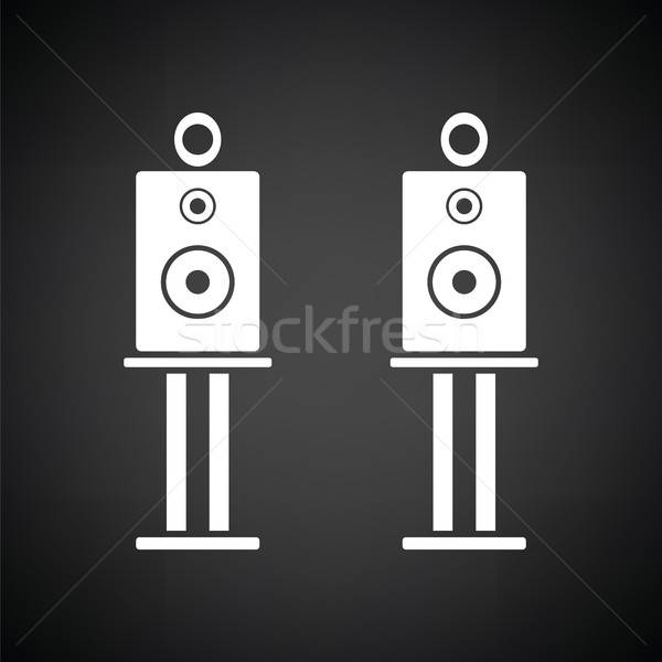 Audio sprekers icon zwart wit abstract technologie Stockfoto © angelp