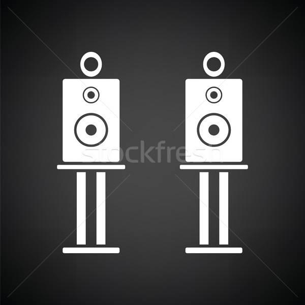 аудио ораторов икона черно белые аннотация технологий Сток-фото © angelp