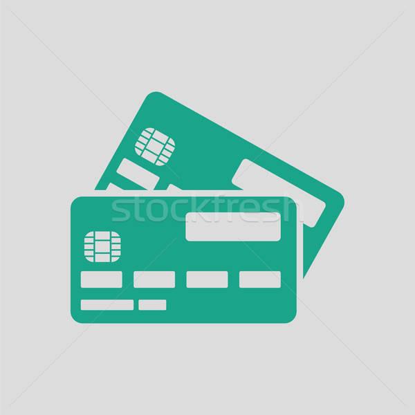 Carte de crédit icône gris vert affaires argent Photo stock © angelp