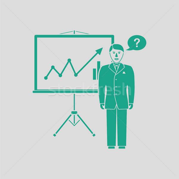 Analityka stoją ikona szary zielone człowiek Zdjęcia stock © angelp